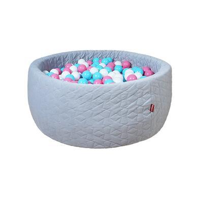 knorr-toys hrací ohrádka s míčky měkká - Cozy geo grey - 300 míčků růžová / krémová / světle modrá