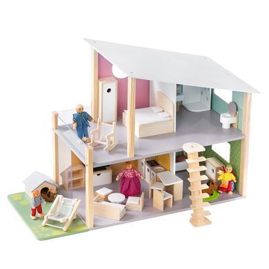 howa® Puppenhaus Nelly inkl. 23-tlg. Möbelset mit 4 Puppen und Hund