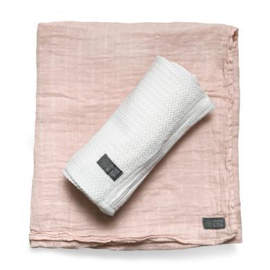 VINTER&BLOOM Geschenkset Kuscheldecke Soft Grid & Musselindecke GOTS Bright White/Dusty Rose