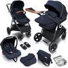 babyGO Kombikinderwagen Halime 3 in 1 Blue Black