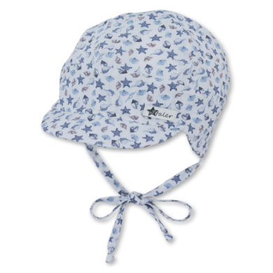Sterntaler Organická čepice s kšiltem modrá