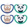 NUK Schnuller Space Gr. 2, 6 - 18 Monate Silikon Eule/Panda 4 Stück