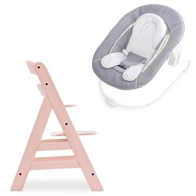 Hochstühle - hauck Hochstuhl Alpha Plus Rose inklusive Bouncer Stretch Grey  - Onlineshop Babymarkt
