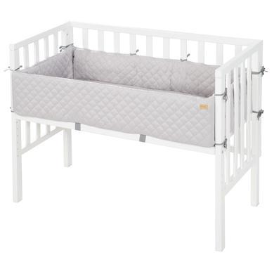 Kinderbetten - roba Beistellbett 2 in 1 weiß Style grau  - Onlineshop Babymarkt