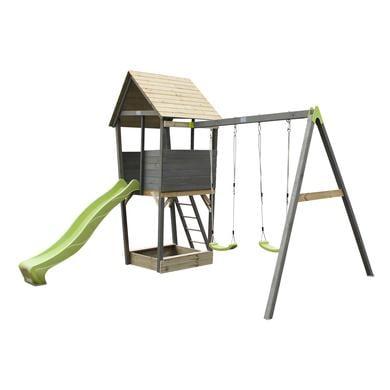 Dřevěná hrací věž EXIT Aksent s dvoumístnou houpačkou - šedá