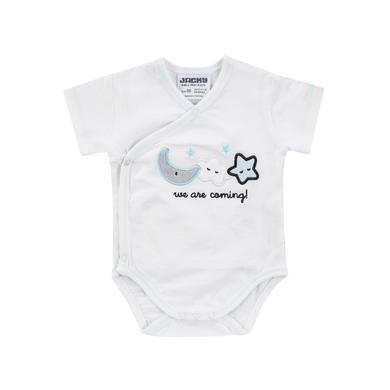 Babywaesche - JACKY Wickelbody kurzarm WELCOME weiß türkis - Onlineshop Babymarkt