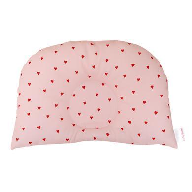 Image of BabyDorm® Kinderwagenkissen BuggyDorm Rosalie rosa mit roten Herzchen