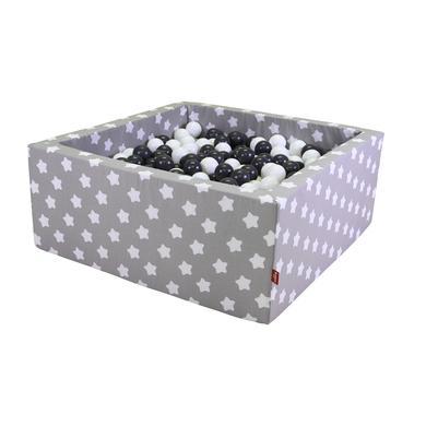 Image of knorr® toys palla da bagno morbida quadrata - Grigio white stars incluso 100 palle crema/grigio/grigio