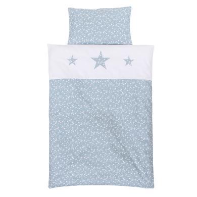 Image of babybay® Kinderbettwäsche Piqué azurblau Sterne weiß mit Applikation Stern 100 x 135 cm