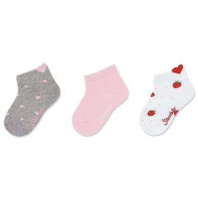 Sterntaler Sneaker sokken 3-pack harten licht grijs gemêleerd