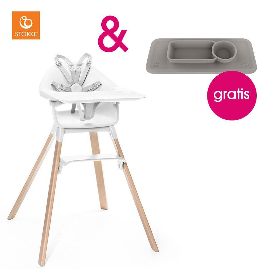 Hochstühle - STOKKE® CLIKK™ Hochstuhl White mit Gratis ezpz™ Platzset grey  - Onlineshop Babymarkt