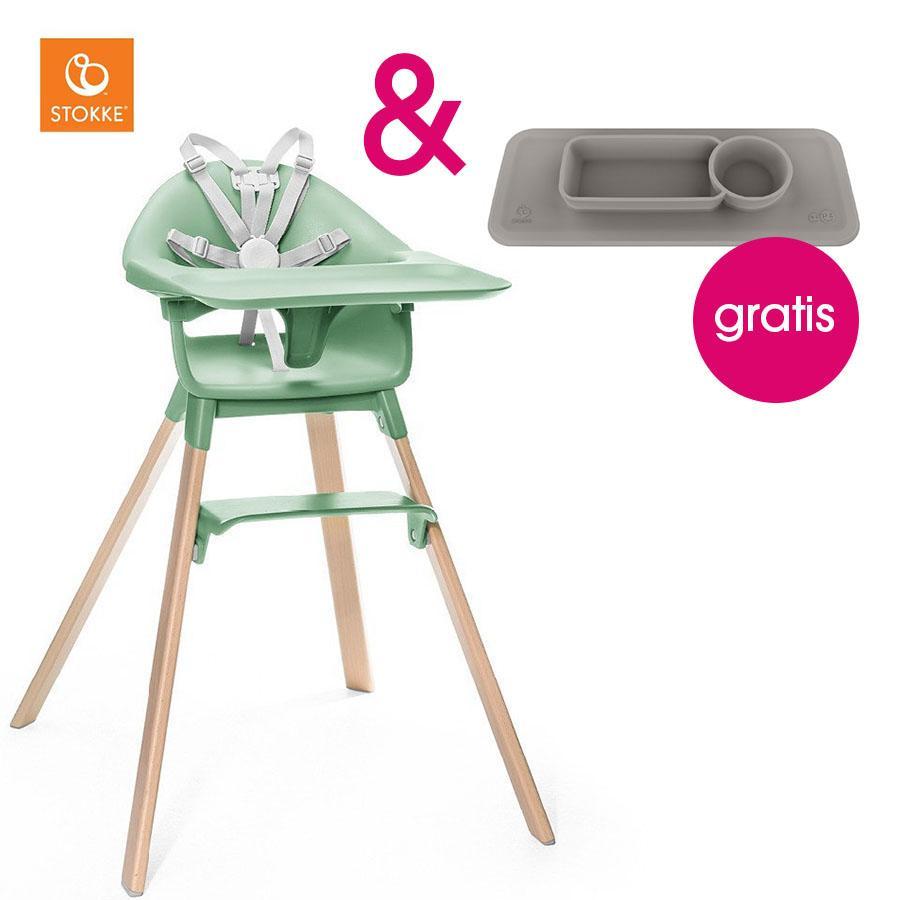 Hochstühle - STOKKE® CLIKK™ Hochstuhl Clover Green mit Gratis ezpz™ Platzset grey  - Onlineshop Babymarkt