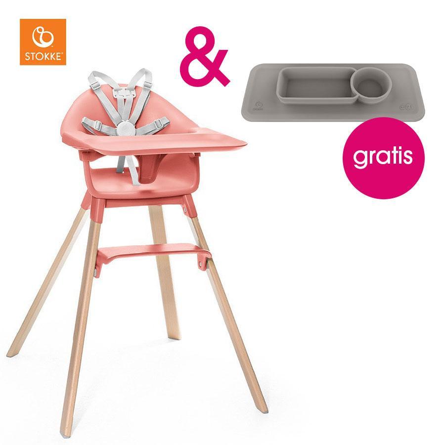 Hochstühle - STOKKE® CLIKK™ Hochstuhl Sunny Coral mit Gratis ezpz™ Platzset grey  - Onlineshop Babymarkt