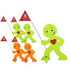 BEACHTREKKER Streetbuddy Warnfigur für mehr Kindersicherheit - grün/orange 5er Set