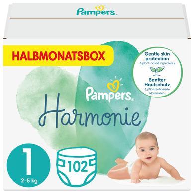 Image of Pampers Harmonie maat 1 2kg-5kg halve maand doos 102 luiers