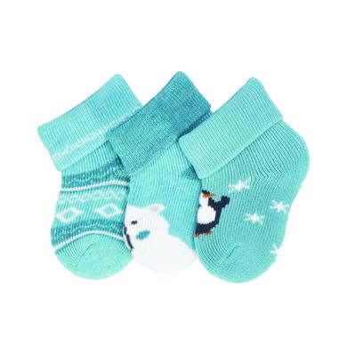 Levně Sterntaler první ponožky 3-pack medvěd tmavě tyrkysové
