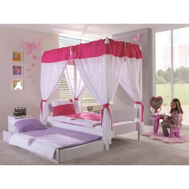 Kinderbetten - Relita Himmelbett Stella lila weiß inkl. Bettkasten  - Onlineshop Babymarkt