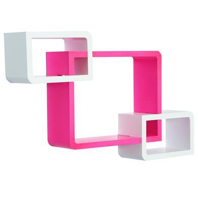 Regale - HOMCOM Würfelregal mit 3 Fächer rosa, weiß  - Onlineshop Babymarkt
