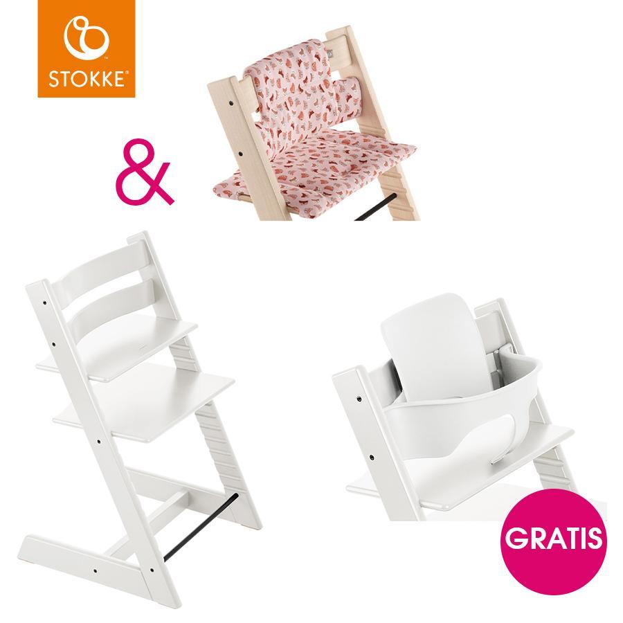 Hochstühle - STOKKE® Tripp Trapp® Hochstuhl Buche weiß inkl. Classic Baby Sitzkissen Pink Fox gratis Baby Set weiß  - Onlineshop Babymarkt